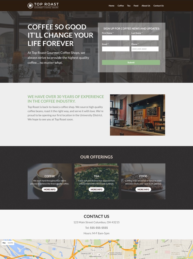 Small Business Website Design: Coffee Shop